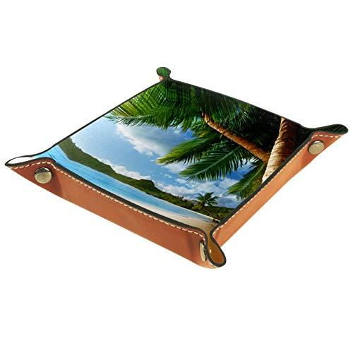 Tablett Leder,Hawaii Landscape Beach Palmen,Leder Münzen Tablettschlüssel für Schmuck,Telefon,Uhren,Süßigkeiten,Catchall-Tablett für Männer & Frauen Großes Geschenk