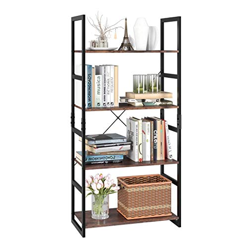 Homfa Bookshelf Rack 4 Tier Vintage Bookcase Shelf Storage...
