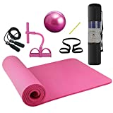 Lixada Yoga Mat 7 Piece Set - Include Jump Rope, Ankle Puller, Pilates Ball with Pipe, Yoga Mat with Carrying Strap and Storage Bag for Yoga, Pilates and Fitness