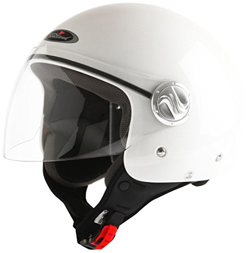 Scotland Casco Moto/Scooter con Visera Larga, Blanco Brillante, 59-60 (L)