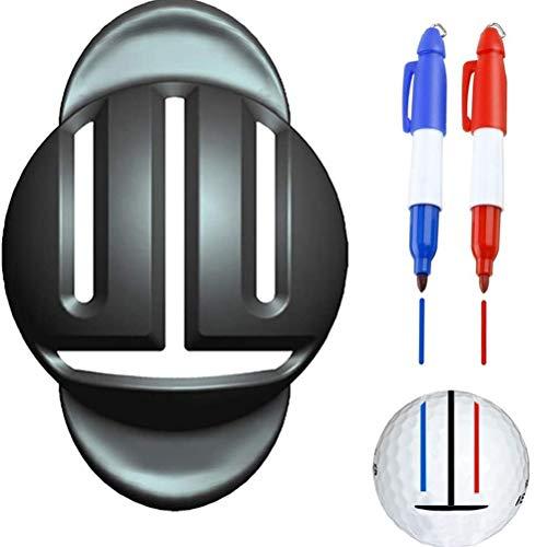 Kerta Marcador de golf, línea de golf, herramienta de marcación de bolas, marcador de golf, suministros de golf (incluyendo dos bolígrafos)