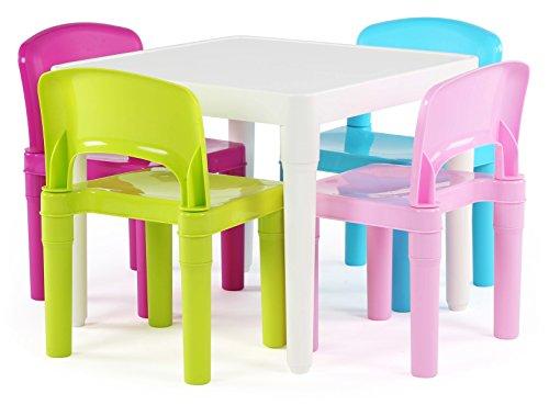 Humble Crew White Table/Pastel Chairs Kids Plastic 4 Set