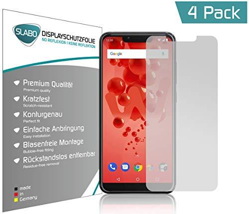 Slabo 4 x Bildschirmschutzfolie für Wiko View 2 Plus Bildschirmfolie Schutzfolie Folie Zubehör (verkleinerte Folien, aufgr& der Wölbung des Bildschirms) No Reflexion MATT - entspiegelnd Made IN Germany