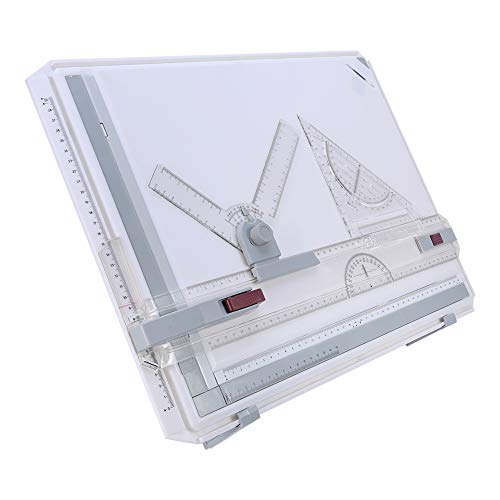 A3 Drawing Board, Multifunctional Drawing Board Table with Clear Rule Parallel Motion and Angle Adjustable Measuring Drafting Table(Approx. Size: 20.1 x 14.4inch)