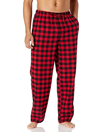 Amazon Essentials Men's Flannel Pajama Pant, Red Buffalo Plaid, Medium