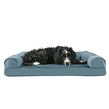 FurHaven Ultra Plush/Velvet Orthopedic Dog Couch Sofa Bed for Dogs and Cats, Plush Deep Pool, Large