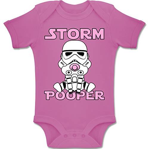Sprüche Baby - Storm Pooper Mädchen - 1-3 Monate - Pink - BZ10 - Baby Body Kurzarm Jungen Mädchen