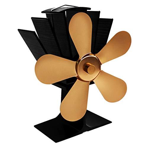 MagiDeal Ventilador de Estufa de Energía Térmica con Termómetro | 5 Aspas - Ventilador Silencioso de Aluminio de La Estufa de La Hornilla de Madera Ecológico, Oro, Individual