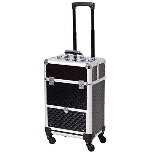 Valise trolley maquillage mallette cosmétique vanity poignée télescopique réglable 34L x 25l x 62H cm alu. noir