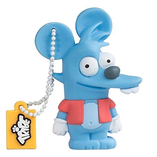 Tribe Los Simpsons Itchy - Memoria USB 2.0 de 8 GB Pendrive Flash Drive de Goma con Llavero, Color Azul
