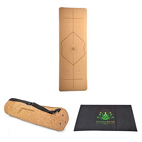 Cork Yoga Mat - Premium Cork and Natural Rubber Eco Friendly Non-slip Light Weight Yoga Fitness Mat with Matching Cork Yoga Bag Extra Roomy With J-Zipper and Cool Dry Towel - Cools When Wet
