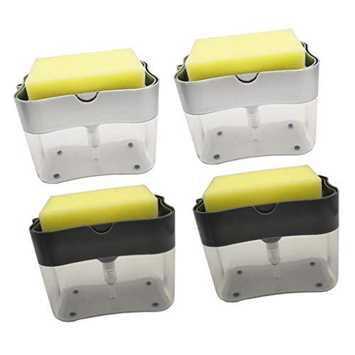 freneci Carro Dispensador de Bomba de Jabón para Fregadero de Cocina 4X con Contenedor de Jabón con Soporte para Esponja