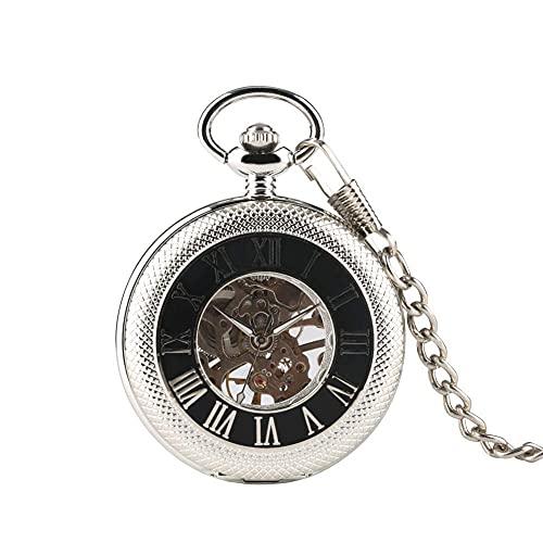 LLGBD Accessories/Reloj de Bolsillo de Estuche reticulado de Plata para Hombres, Reloj de Bolsillo mecánico de Esqueleto para Hombre, Relojes de Bolsillo exquisitos tallados Huecos