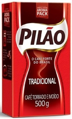 Pilao Coffee Traditional Roast and Ground- Café Torrado e Moído - 17.60oz. (500g)(PACK OF 4)