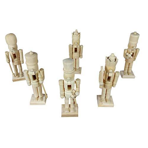 lingzhuo-shop 12cm Nussknacker Soldat Figuren/Mit Farbe Und Kugelschreiber/Puppen Holz Puppe Figur Festliche Weihnachts Deko/Weiß/Embryo Walnut Soldier Shaped Ornaments