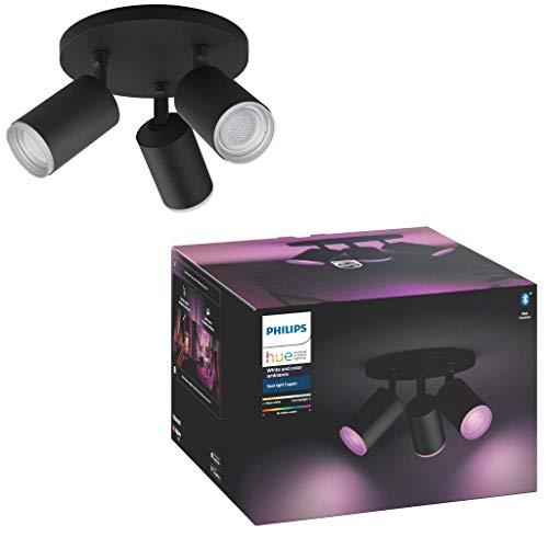 Philips Hue White and Color Ambiance Fugato 3 focos LED Inteligentes, negro, GU10, 5.7 W, luz blanca y de colores, compatible con Bluetooth y Zigbee, funciona con Alexa y Google Home