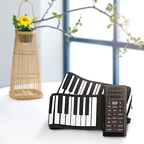 KKTECT Roll up Piano, Faltbare Klaviertastatur mit 88 Tasten Eingebauter 1200mA Akku, hand roll piano keyboard Faltbare Unterstützt MIDI und Bluetooth für Anfänger Geschenk