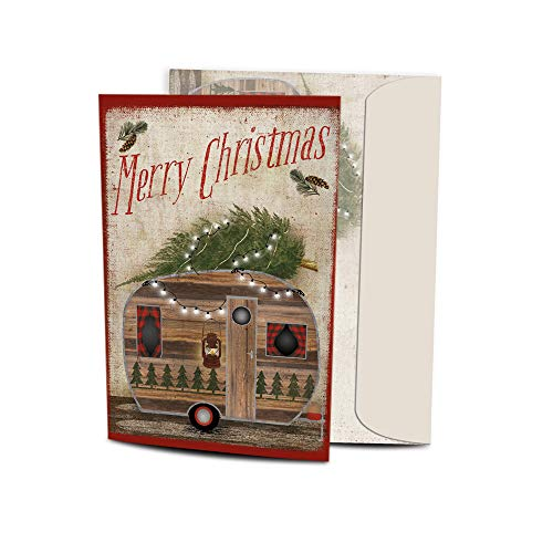 Tree-Free Greetings Christmas Cards, Holiday Card Set with Matching Envelopes, 5x7 Inch Cards, Box Set of 10, Rustic Camper Christmas (HB30412)