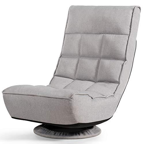 COSTWAY Silla de Suelo con Respaldo Ajustable Sofá Individual Silla de Relax Meditación Plegable con Base Giratorio 360 °para Hogar TV (Gris)