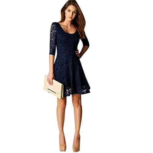 SHOBDW Mode Damen Sexy Spitze Patchwork Partykleid Mini Dress Frauen Sommer Mode Elegant 3/4 Ärmel O Ausschnitt Sommerkleid Strandkleid Swingkleid Abendkleid Minikleid