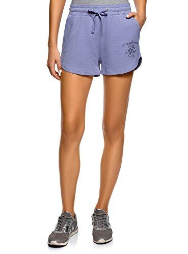 oodji Ultra Mujer Pantalones Cortos de Algodón con Cordones, Morado, M
