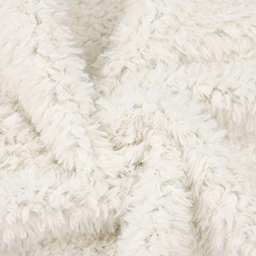 kullaloo Teddyplüsch/Kunstfell Fantanstic Furs Fine Teddy - Meterware 10mm Florlänge 0,5m (wollweiß)