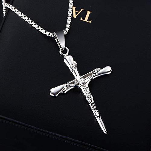 Gepersonaliseerde accessoires, halskettingen, hooggepolijst roestvrij staal vintage klassieke crucifix kruis goud Jezus kruis hanger religieuze kruis ketting met Jezus, Thumby ZILVER