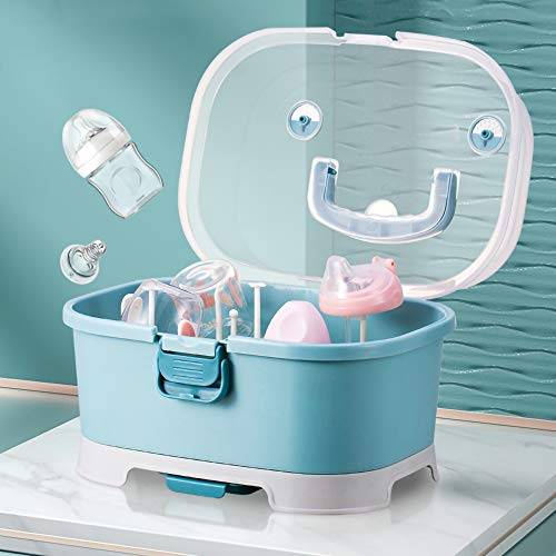 Baby Bottle Drying Rack Storage Large Nursing Bottle Storage Box Organizer with Cover Portable Kitchen Cabinet Organizer Easy to Clean Drainer Durable countertop Dryer