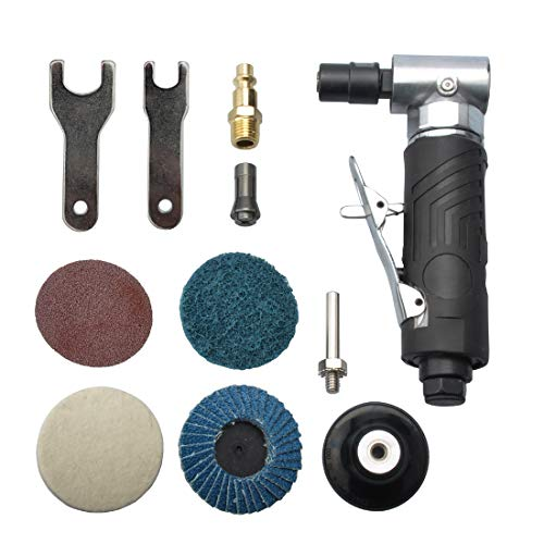 "1/4 inch angle air die grinder with 4 pcs 2"" roll lock sanding discs"