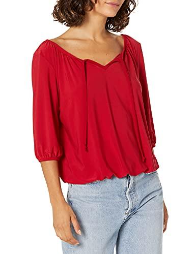 Star Vixen Women's Petite 3/4 Sleeve Peasant Elastic-Hem Keyhole-Tie Top, red, PM