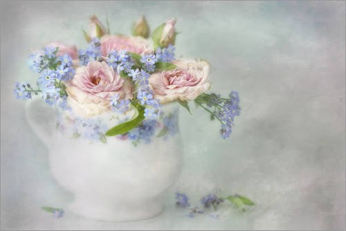 Posterlounge Acrylglasbild 60 x 40 cm: Rosen & Vergissmeinnicht von Lizzy Pe - Wandbild, Acryl Glasbild, Druck auf Acryl Glas Bild