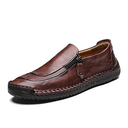 LIEBE721 Mocasín de Cuero para Hombre Tamaño Grande Antideslizante Durable Transpirable Mocasines Zapatos de Trabajo de Negocios