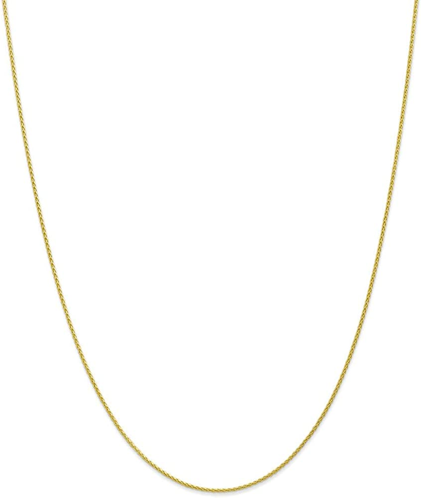 Chain Necklace 10K Yellow Gold Spiga (Wheat) Pendant 30 in 1.2 mm