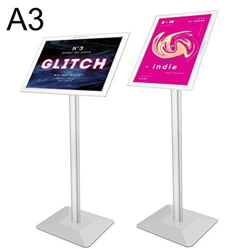 Voilamart Infoständer DIN A3 für Plakate mit 450x 320mm Informationsständer Rostfrei Aluminium Fußplatte Infohalter für Hoch-/Querformat