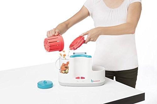 Badabulle Baby Station 4-in-1 Babynahrungszubereiter, Dampfgaren, Mixen, Erwärmen von Fläschchen und Babybrei, Auftauen - 4