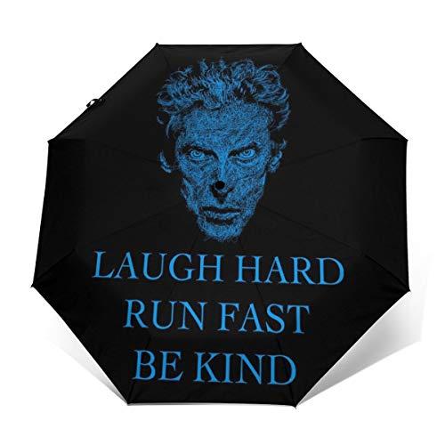 Laugh Hard Run Fast Be Kind Doctor Who Paraguas Plegable Compacto de Apertura y Cierre automático, Plegable, Paraguas de Viaje