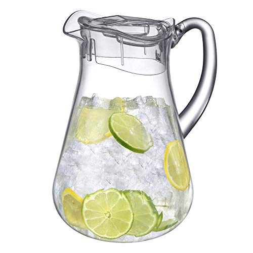 Amazing Abby - Droply - Acrylic Pitcher (64 oz), Clear Plastic Pitcher, BPA-Free and Shatter-Proof, Great for Iced Tea, Sangria, Lemonade, and More