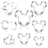 Hangnuo 8 Set Mouse Cookie Cutters Stainless Steel, Cute Cartoon Cutter Molds for Biscuit Dough, Fondant, Fruit, Pizza