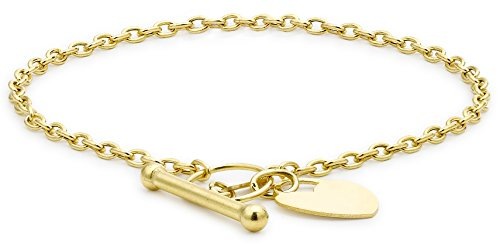 Carissima Gold 9ct Yellow Gold Heart Tag T-Bar Bracelet of 18cm/7'
