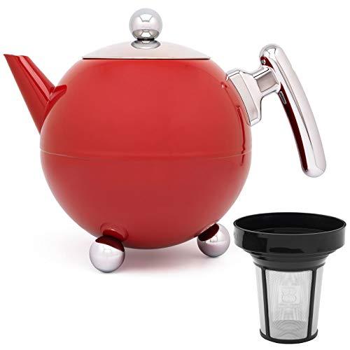 Bredemeijer rote bauchige doppelwandige Edelstahl Teekanne Set 1.2 Liter mit Edelstahl Teefilter Sieb