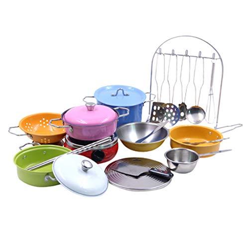 chiwanji Cocina para Niños Juego de Imaginación Juguetes Cocina para Juegos de rol 23pcs / Set Inoxidable