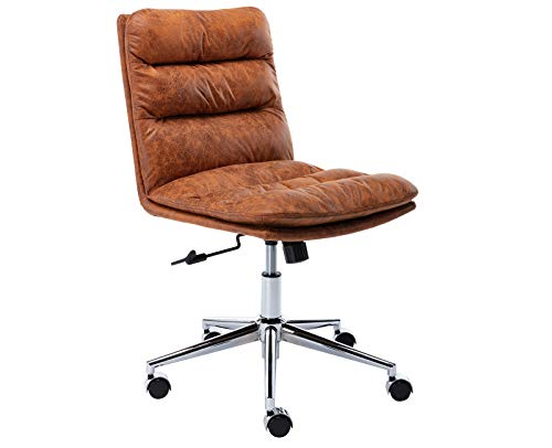 Janoray Office Chair Ergonomic Computer Chair Swivel Rolling Chair Faux Leather Armless Task Chair for Student, Work, Home Office, Brown