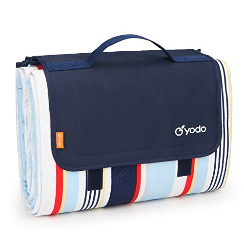 """yodo Extra Large Picnic Blanket Tote 79"""" x 79"""", Machine Washable for Family Outdoor Camping Beach Hiking Festivals Concerts,Navy/Red Stripe"""