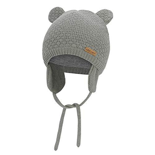 Zando Baby Earflap Beanies Infant Toddler Cute Bear Hat Winter Baby Girls Boys Earflap Caps A Grey (6-15 Months)
