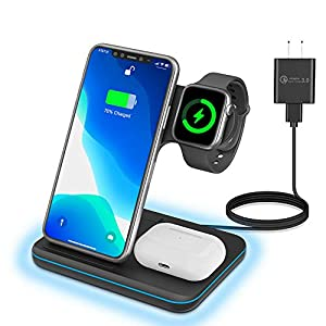 3 In 1 Wirless Charging Station For Apple Iphone Watch Airpodsany Warphone 15w Fast Wireless Charger For Apple Iwatch 6se54321airpods 321 Iphone 11 Seriesxs Maxxrxsx88 Plus