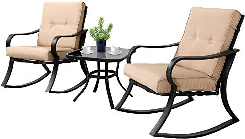SOLAURA 3-Piece Outdoor Rocking Chairs Bistro Set