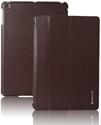 Invision® iPad Air Custodia Smart Cover – Caratteristiche Superiori di Design – Funzione Automatica Magnetica Sveglia/Riposo – Pelle Sintetica di Qualità (iPad Air / Marrone)