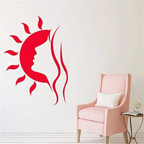 Belleza chica salón pared mujer silueta hermosa cara etiqueta de la pared arte del hogar decoración de la pared sol