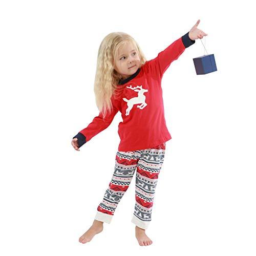 Baywell Family - Pigiama natalizio a maniche lunghe, 2 pezzi, set di abbigliamento da uomo, donna e bambino