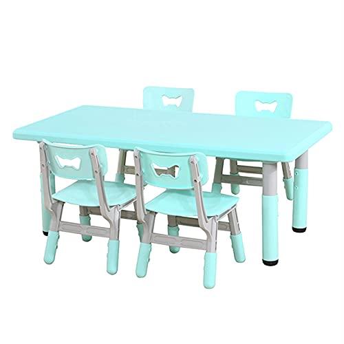 Mesa y S illa para Niños Juego de Mesa y Silla de Kindergarten Azul, mesas y sillas para niños se Pueden elevar y Bajar, adecuadas para niños de 2 a 10 años para Dibujar, Comer y Leer